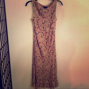 Ann Taylor Silk Paisley Midi Sheathe Dress Size 6
